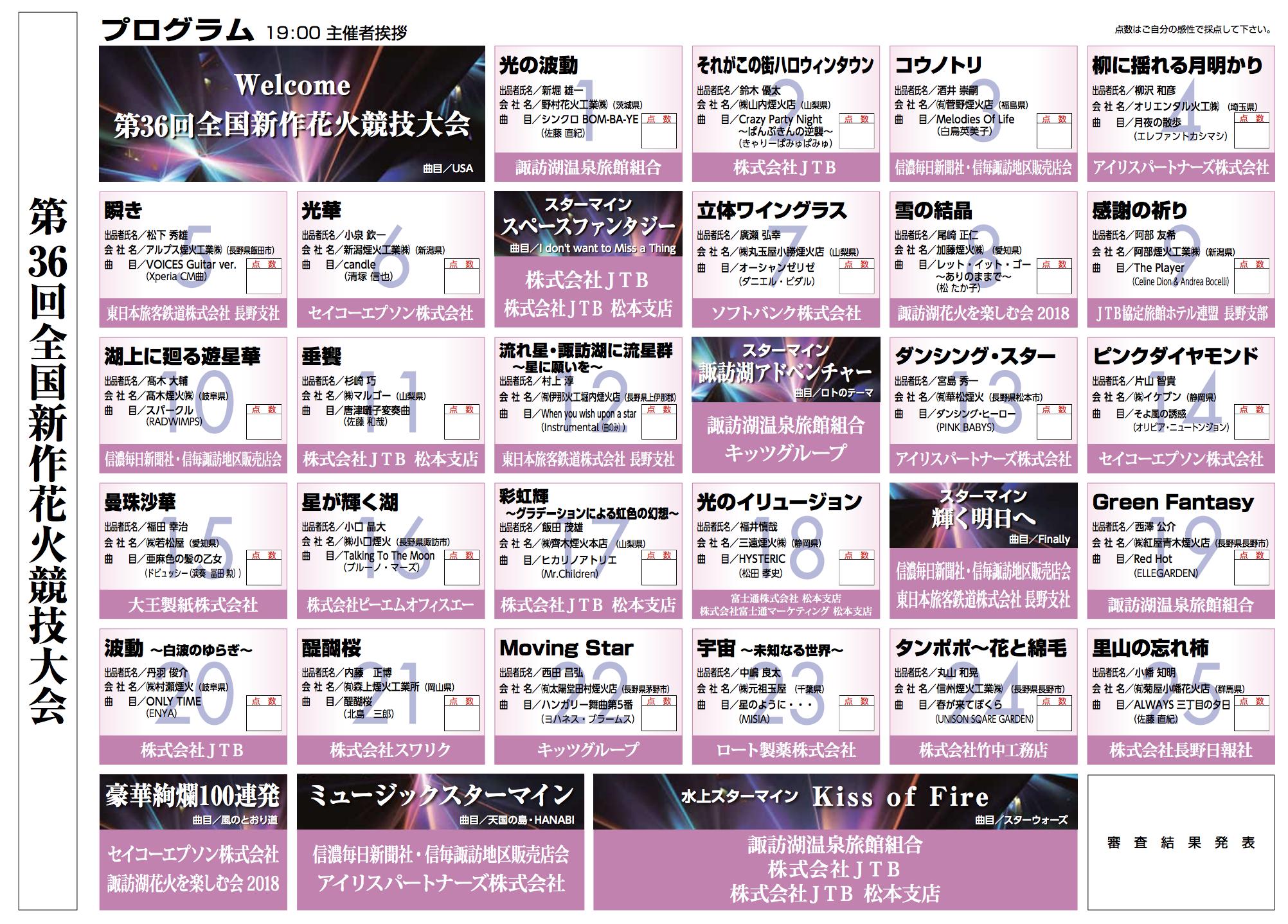 2018新作花火競技大会プログラム